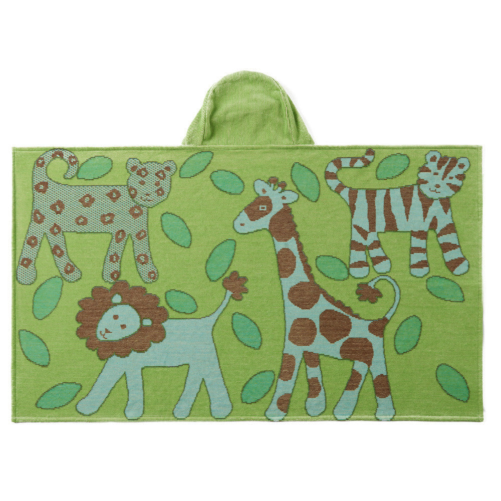 Kids Hooded Towel, Green - Jungle Collection - Breganwood Organics - 1