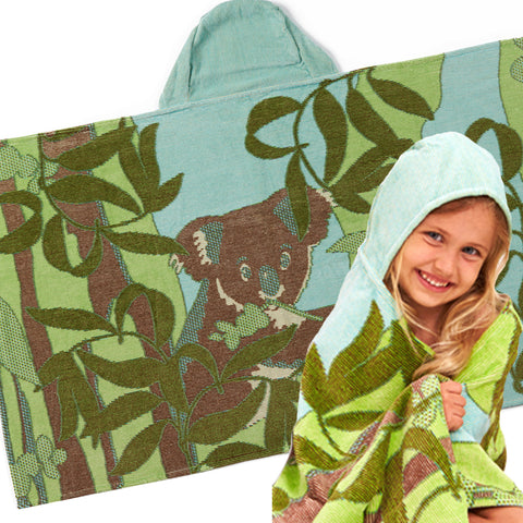 Kids Hooded Towel: Outback Collection Koalas -Sea Blue