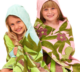 Sea Blue and Pale Rose Jacquard Hooded Towels with Koala Bear Design