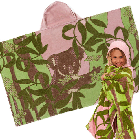 Kids Hooded Towel: Outback Collection Koalas -Pale Rose