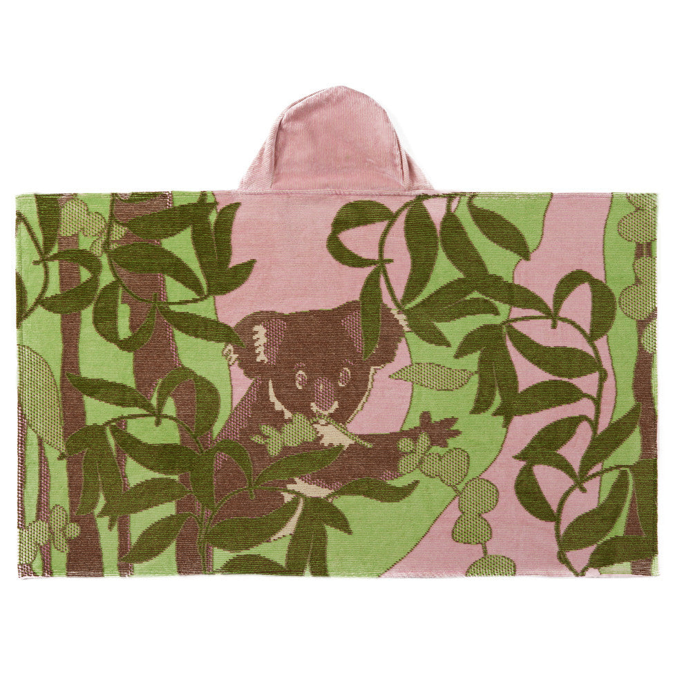 Kids Hooded Towel, The Outback Collection Pale Rose Koala - Breganwood Organics - 3