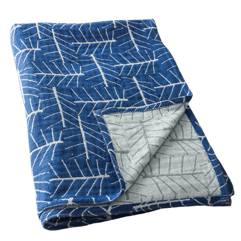 Blue Leaf It Cotton Muslin Throw Blanket in Jacquard Weave Front & Back