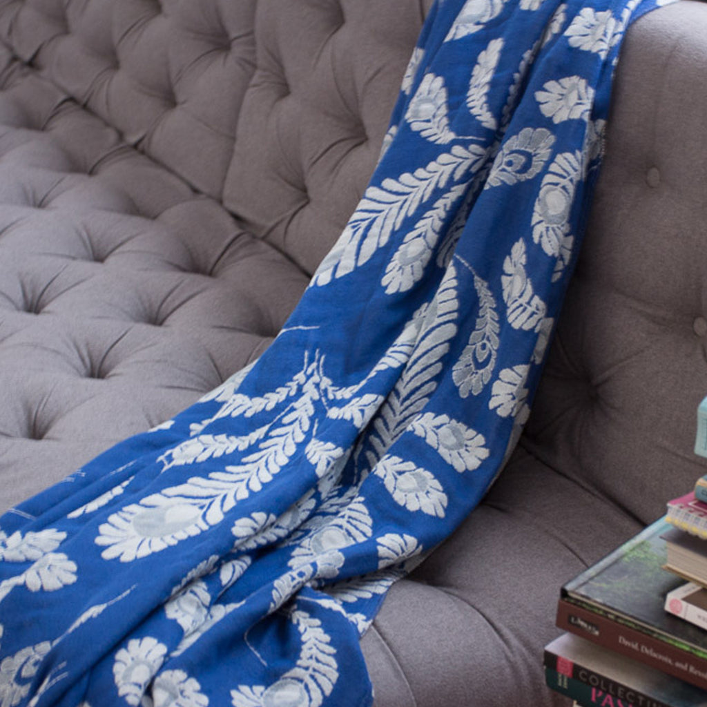 Blue Peacock Blanket Throw in Soft Muslin Organic Cotton
