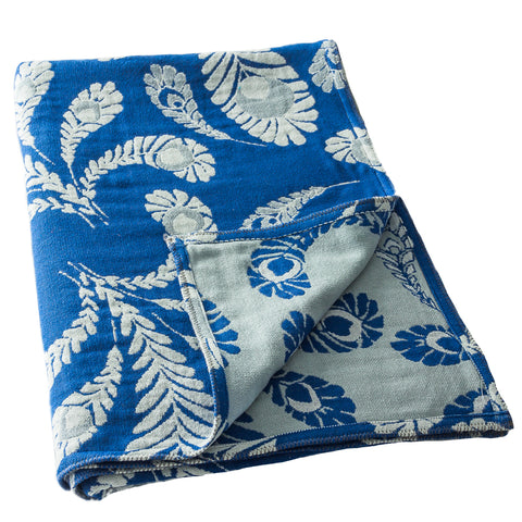 Blue 'Peacock' Cotton Muslin Throw Blanket in Jacquard Weave
