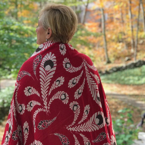 Cotton Throw/Blanket, Peacock Design in Red & Brown
