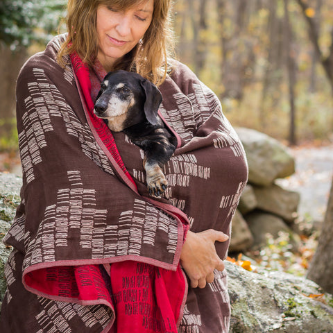 Cotton Throw/Blankets made with organically grown cotton red & brown shoreline design 3
