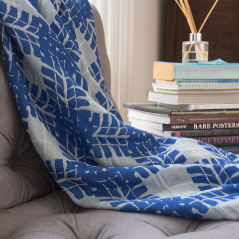 Cotton Throw/Blankets made with organically grown cotton ManCave Blue 6
