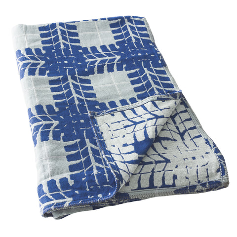 Cotton Throw Blanket, Blue Man Cave Design in Organic Cotton