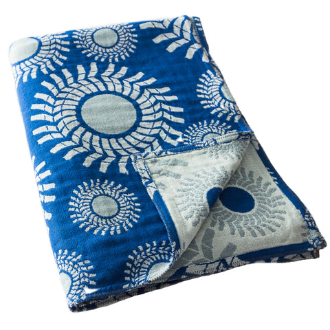 Cotton Throw/Blankets made with organically grown cotton Sunburst Design in Blue & Grey