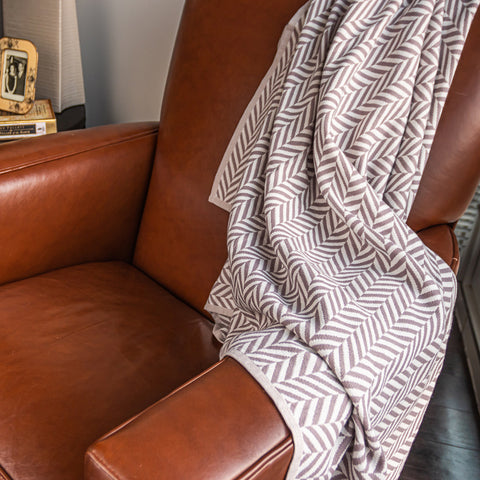 Organic Cotton Muslin Throw Blanket, Herringbone Taupe