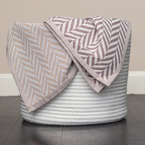 Cotton Muslin Throw Organic Cotton, Herringbone Taupe 2