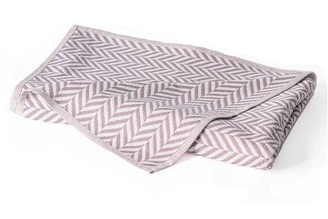 Cotton Muslin Throw Organic Cotton, Herringbone Taupe 6