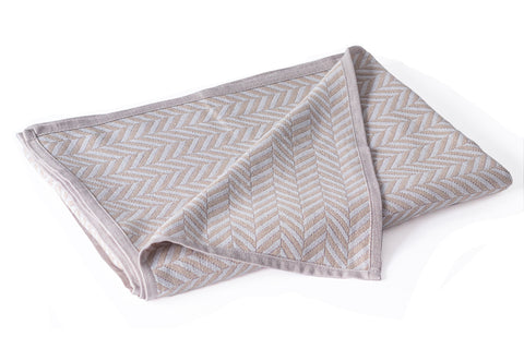 Cotton Muslin Throw Organic Cotton, Herringbone Fawn