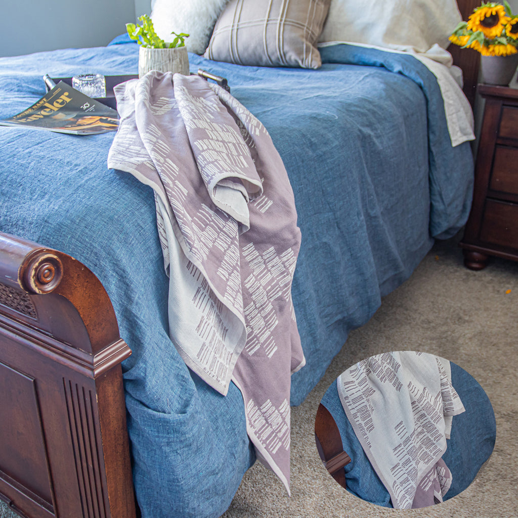 Cotton Throw/Blankets made with organically grown cotton Shoreline Taupe 2