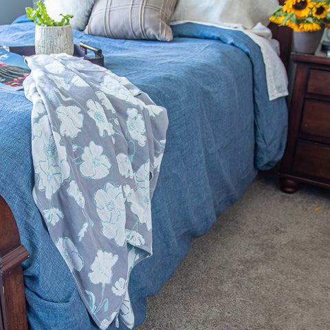 Cotton Throw/Blankets made with organically grown cotton Graceland Sage & Grey 23