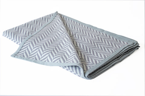 Cotton Throw/Blankets made with organically grown cotton Herringbone Grey