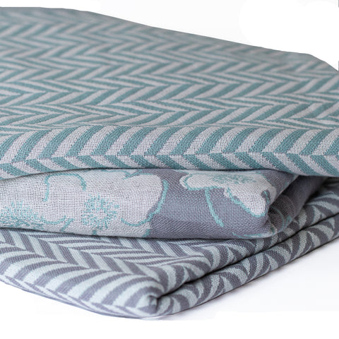 Cotton Throw/Blankets made with organically grown cotton Herringbone Sage 3