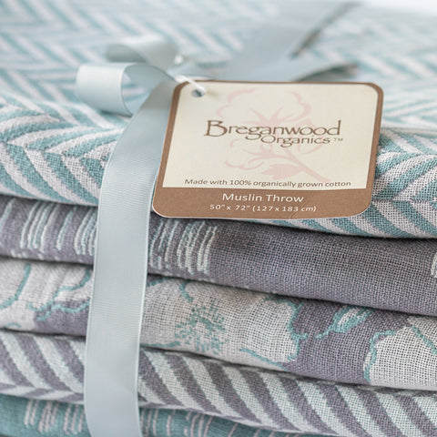 Cotton Throw/Blankets made with organically grown cotton Herringbone Sage 6
