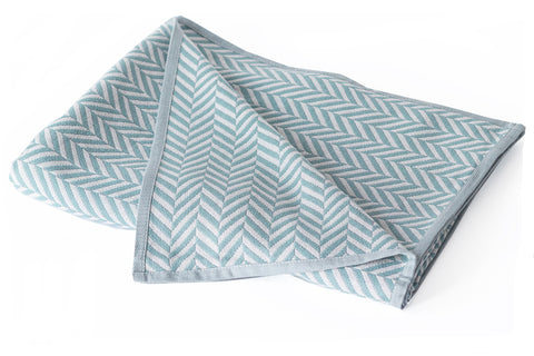 Cotton Throw/Blankets made with organically grown cotton Herringbone Sage 1