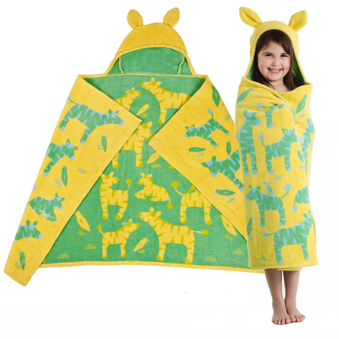 Kids Hooded Towel: Jungle Collection Zebras -Yellow with Green Zebras