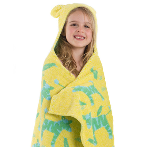 Kids Hooded Towels, Jungle Yellow with Green Zebras - Breganwood Organics