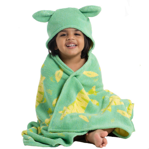 Kids Hooded Towel: Jungle Collection Zebras -Green with Yellow Zebras