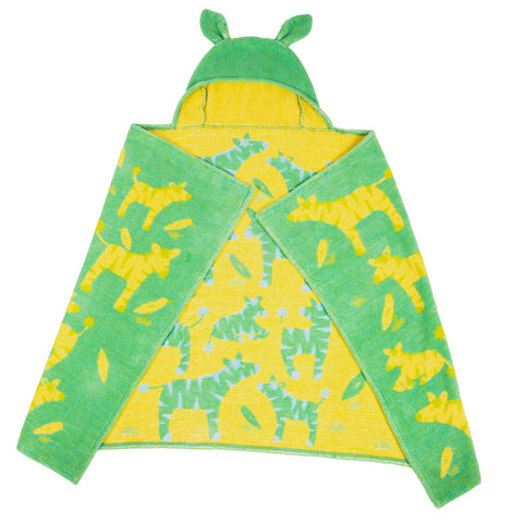 Kids Hooded Towels, Jungle Zebras - Breganwood Organics -4