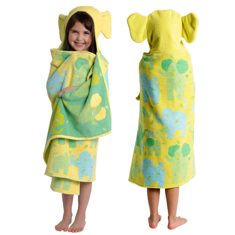 Kids Hooded Towel: Jungle Collection Elephants Velour (Green & Blue on Yellow)