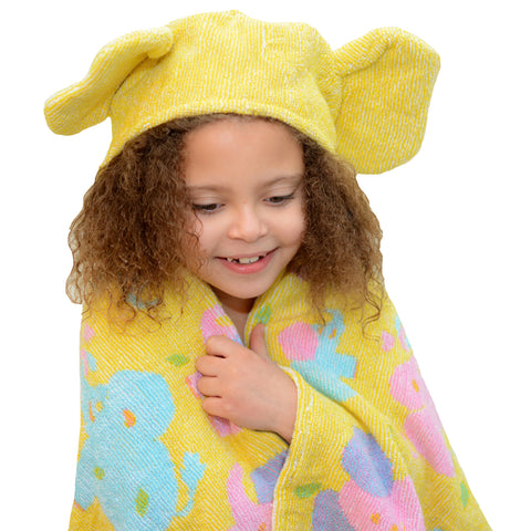 Kids Hooded Towel: Jungle Collection Elephants Terry  -Yellow
