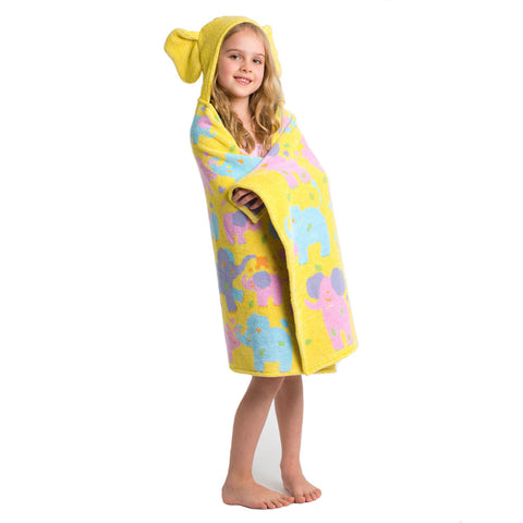 Kids Hooded Towel, Elephants, Jungle Collection - Breganwood Organics - 4