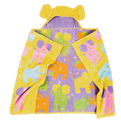 Kids Hooded Towel, Elephants, Jungle Collection - Breganwood Organics - 2