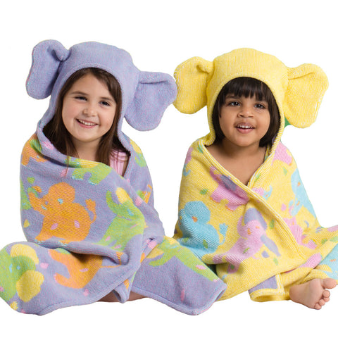 Kids Hooded Towel, Elephants, Jungle Collection - Breganwood Organics - 1