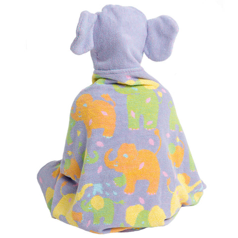 Kids Hooded Towel: Jungle Collection Elephants Terry -Purple