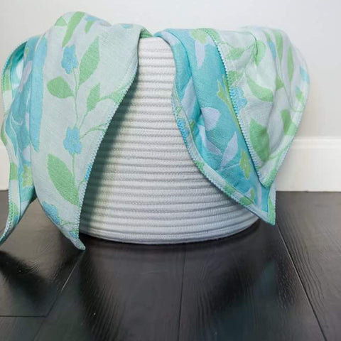 Cotton Throw by Barbara Leonard, Blue Floral - Breganwood Organics - 5