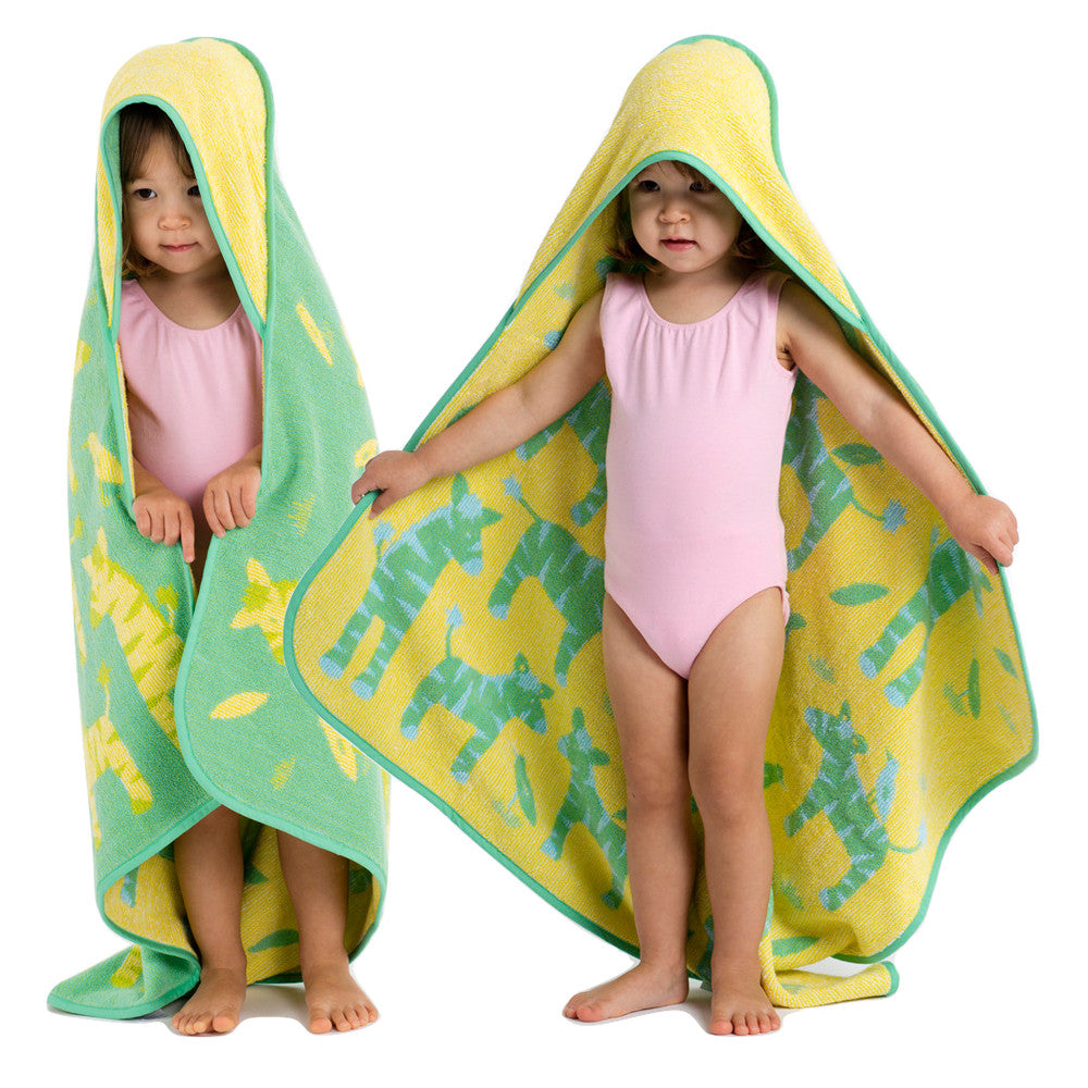 Baby & Toddler Hooded Towel: Green and Yellow Zebras, reversible, Breganwood Organics