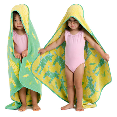 Baby & Toddler Hooded Towel: Jungle Collection Zebras Green & Yellow Reversible