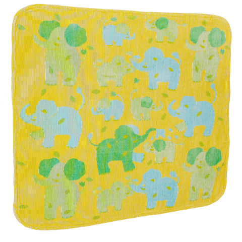 Baby & Toddler Hooded Towel, Jungle Elephants yellow with blue and green elephants, Breganwood Organics