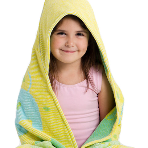 Baby & Toddler Hooded Towel, Jungle Elephants yellow with blue and green elephants, Breganwood Organics 6