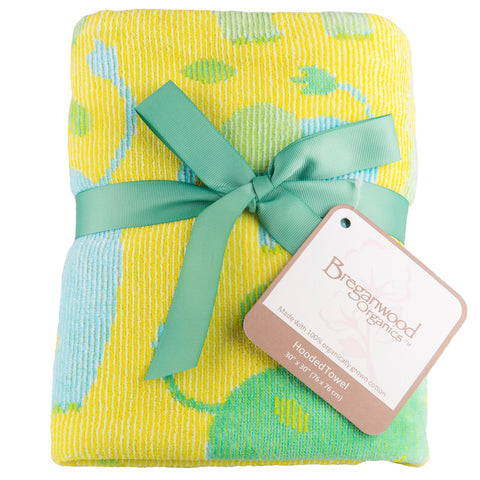 Baby & Toddler Hooded Towel, Jungle Elephants yellow with blue and green elephants Breganwood Organics 5