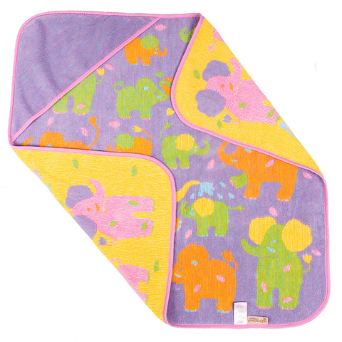 Baby & Toddler Hooded Towel, Jungle Elephants in purple and yellow, Breganwood Organics 2