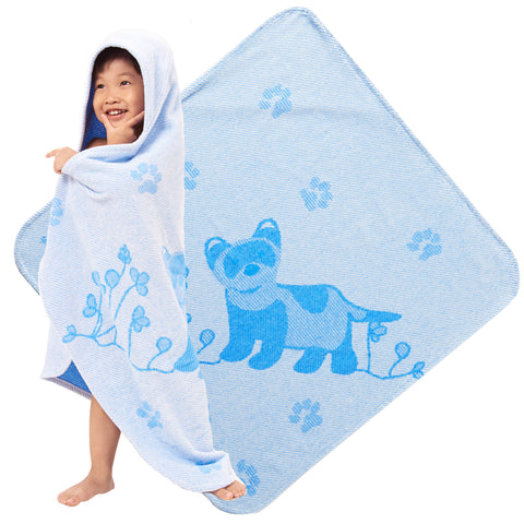 Baby & Toddler Hooded Towel, Blue Ferret Jacquard Design by Harmony Art
