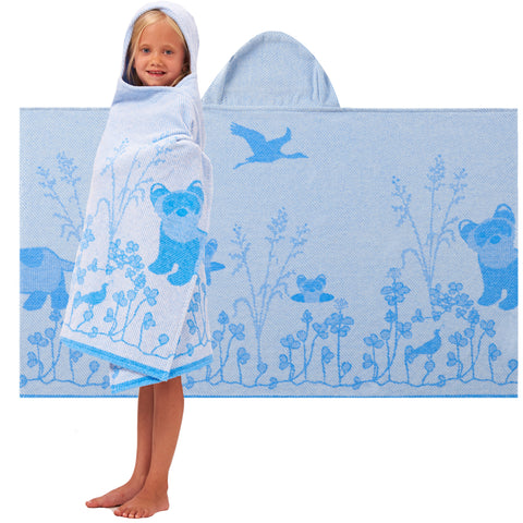 Kids Hooded Towel: Prairie Collection Ferrets -Cool Blue