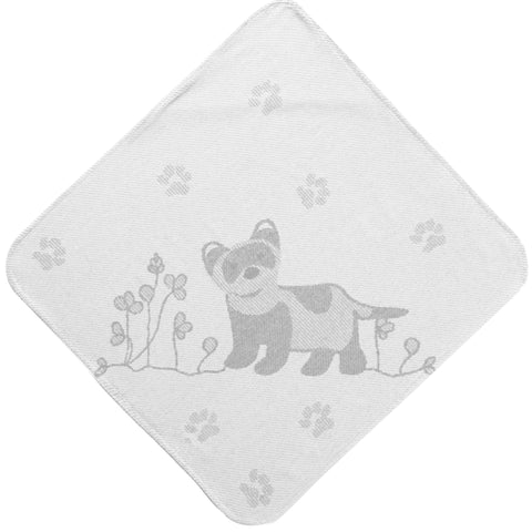 Baby Toddler Hooded Towel Grey Ferret Jacquard Design Breganwood Organics 1