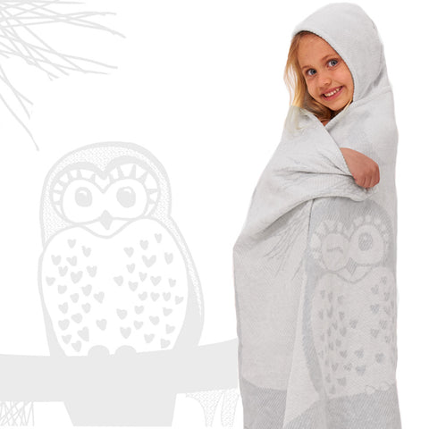Kids Hooded Towel: Prairie Collection Owls -Soft Grey