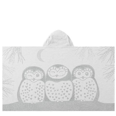 Kids Hooded Towel, The Prairie Collection Grey Owls - Breganwood Organics - 4