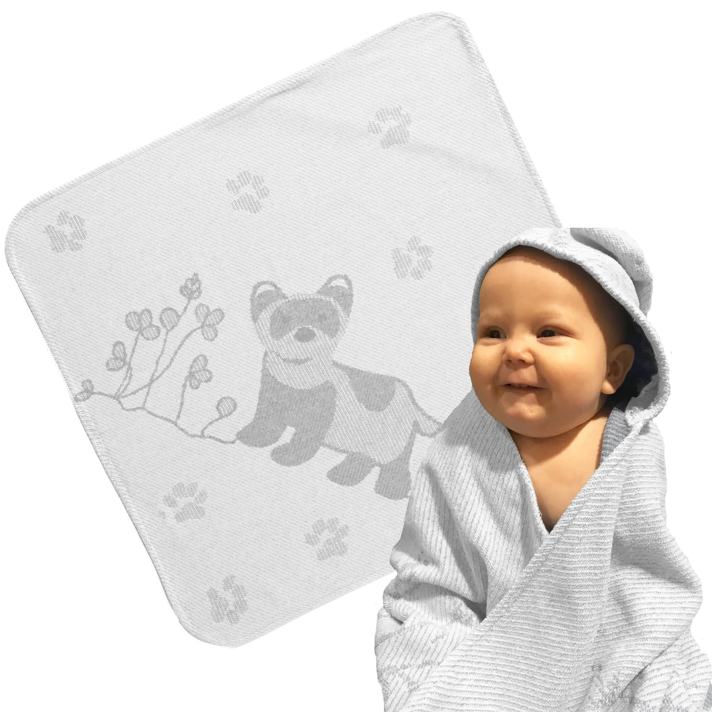 Baby Toddler Hooded Towel Grey Ferret Jacquard Design Breganwood Organics