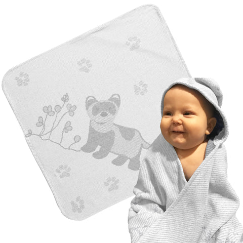 Baby & Toddler Hooded Towel: Prairie Collection Ferrets -Soft Grey