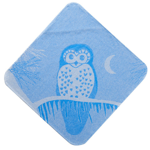 Baby & Toddler Hooded Towel: Prairie Collection (Blue Owl) - Breganwood Organics - 2