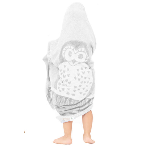 Baby & Toddler Hooded Towel: Prairie Collection (Soft Grey Owl) - Breganwood Organics - 1