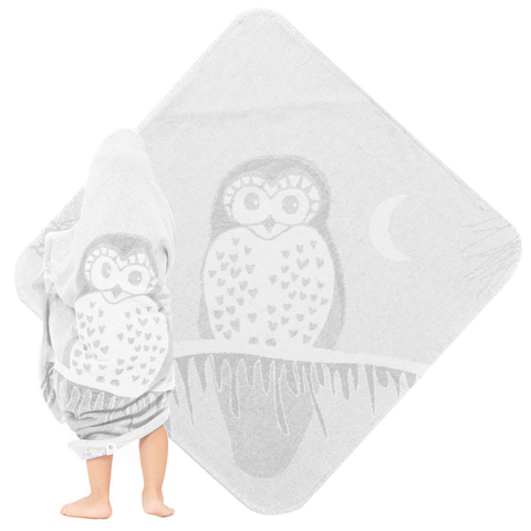 Baby & Toddler Hooded Towel Grey Owl Jacquard Design